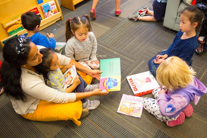 Kids reading books with teacher in a PJCC classroom