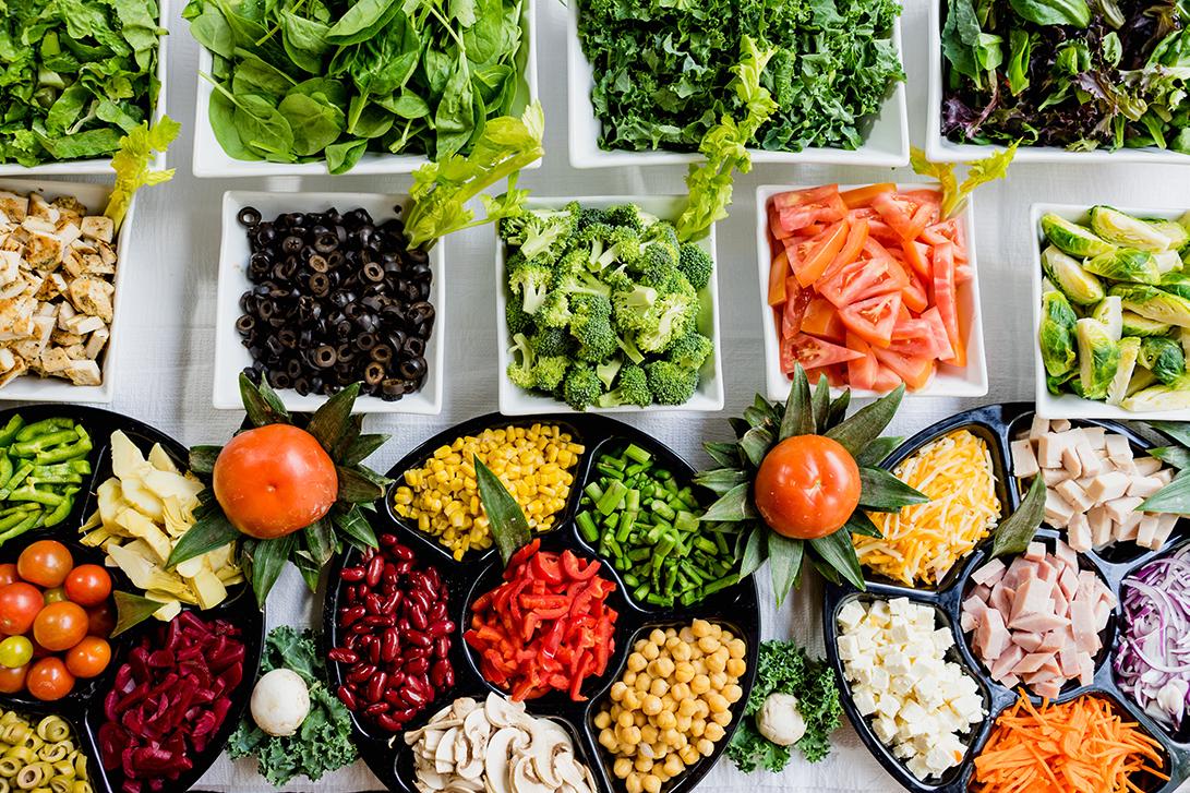 Vegetables laid out on salad bar